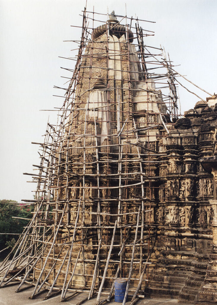 Temple covered with scaffolding