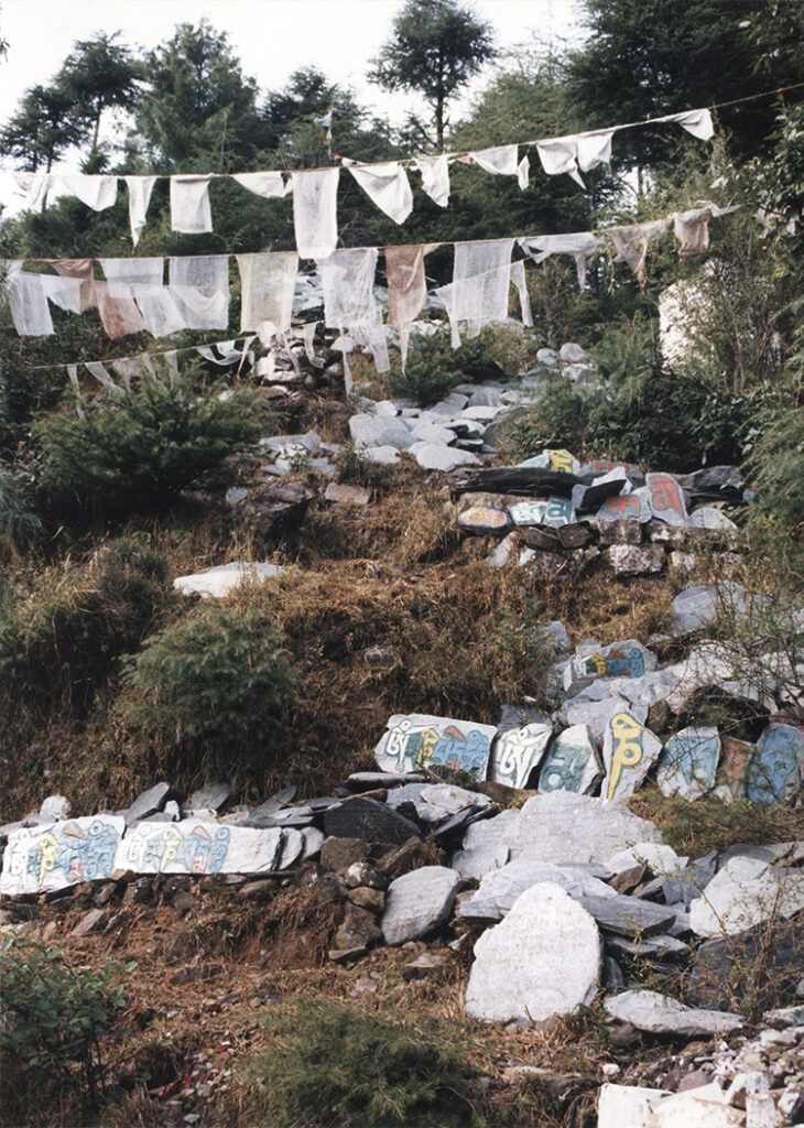 Mani stones and prayer flags