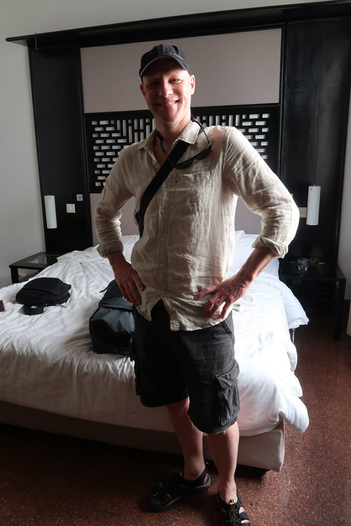 Peter, leaving the White Mansion Hotel in Phnom Penh (Photo by Carol)